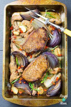 Balsamic Glazed Pork - Pinch Of Nom Slimming Recipes Recipes With Pork Chunks, Pork And Rice Recipes, Shredded Pork Recipes, Pork Rind Recipes, Pork Sausage Recipes, Pork Sirloin Recipes, Pork Cutlet Recipes, Pork Shop Recipes, Cooking Recipes
