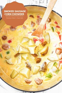 Smoked Sausage Corn Chowder is delicious, hearty, and easy to make. this smoked sausage recipe is a keeper! Smoke Sausage And Potatoes, Sausage Potato Soup, Potato Corn Chowder, Sausage Stew, Smoked Sausage Recipes, Sausage Crockpot, Soup Recipes, Cooking Recipes, Cooking Ideas