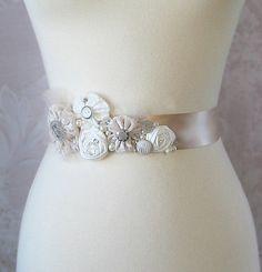 Champagne and Ivory Sash, Rustic Bridal Sash, Vintage Wedding Belt, Rhinestone and Pearl Flower Sash - KATIE. $75.00, via Etsy.