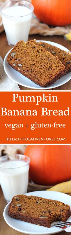 Vegan Gluten Free Pumpkin Banana Bread Can't decide between banana bread and pumpkin bread? Then make this Vegan Gluten Free Pumpkin Banana Bread which blends the flavours of both, perfectly. Gluten Free Pumpkin, Vegan Pumpkin, Gluten Free Desserts, Dairy Free Recipes, Pumpkin Recipes, Vegan Desserts, Vegan Gluten Free, Dessert Recipes, Vegan Recipes
