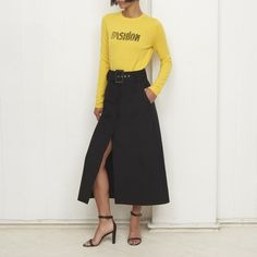 Merino Wool fine gauge crew neck jumper with 'Fashion' intarsia. Model is a size 8 wearing a size small, height Knitwear, Jumper, High Waisted Skirt, Crew Neck, Yellow, Skirts, Model, Pants, How To Wear