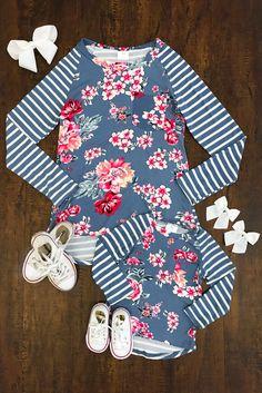 Mom   Me - Blue Stripe Floral Shirts a945a7de9