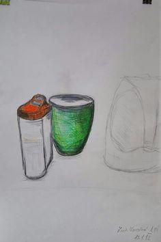 Hrníček a nádoba na cukr - skica (fixy a tužka)