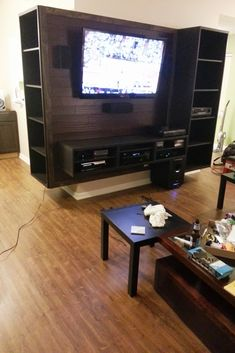 Interior design: unlimited entertainment center ikea besta with bamboo backing ikea hackers entertainment center ikea Entertainment Center Kitchen, Entertainment Room, Home Interior Design, Interior Decorating, Tv Decor, Home Decor, Elderly Home, Ikea Hackers, Wall Mounted Tv