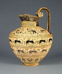Pitcher with Waterbirds, Dogs, and Ruminants, Greek, Ionia, about 625 B.C.E.   Terracotta