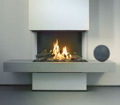 Love the openess of the flame with this fireplace. You would be able to see through to your bathroom.