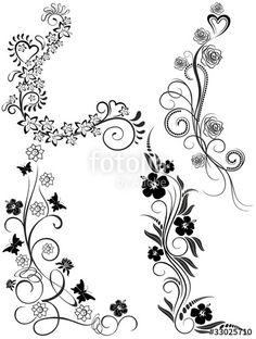 Vector: Tatuaggio Elementi Decorativi-Tattoo Ornamental Elements-Vector