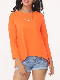 #Fashionmia - #Fashionmia Plain Split Charming Boat Neck Long-sleeve-t-shirts - AdoreWe.com