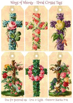 Vintage Floral Crosses Tags -  free for personal use