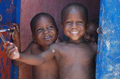 Haitian children in a tent city in Port au Prince
