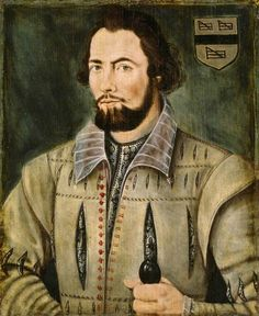 Portrait of a (gorgeous) Unknown Gentleman of the Yates Family - British School - 16th century - oil on panel 483 x 406 mm (19 x 16 in) @ Kingston Lacy Estate, Dorset