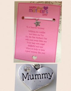 Happy First Mother's Day Wish Charm Card Gift Poem Colour Options + Envelope Mothers Day Poems, Mother Day Wishes, First Mothers Day, Envelope, Events, Colour, Happy, Cards, Gifts
