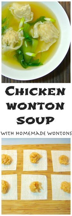 Chicken wonton soup is a quick, delicious, complete meal that can be ready in minutes (once all your dumplings are made) and is healthy too. Napa cabbage is traditional in wonton soup, but I like to u (Rotisserie Chicken And Dumplings) Soup Recipes, Chicken Recipes, Cooking Recipes, Chicken Wontons, Asian Soup, Le Diner, Asian Cooking, Soup And Salad, Soups And Stews
