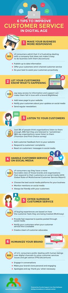 6 Tips to Improve Customer Service in Digital Age (Infographic): http://www.providesupport.com/blog/6-tips-to-improve-customer-service-in-digital-age/ #customerservice #businesstips