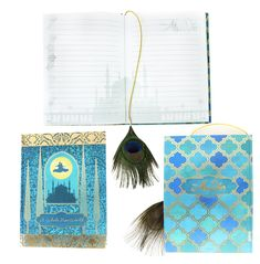 This satin hardcover Aladdin journal features set designs from Tony Award winner Bob Crowley, gold foil accents and a real peacock feather bookmark. The journal has lined pages. Aladin, Tony Award Winners, Crowley, Musicals, Broadway, Feather, Gold Foil, Design, Peacock