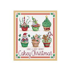 A cross stitch chart of six Christmas themed cupcakes. Ive arranged them as a picture with a border and a sentiment, but you could also stitch the individual cupcakes to use as cards or on small gifts. Chart specs. • stitch count - 150 x 174 stitches • finished size - 10.7 in x 12.4 in / 27.2 cm x 31.6 cm when sewn on 28 count even weave • stitches used - whole cross stitch, fractional stitches, back stitch and french knots. This chart arrives to you as an instant pdf download. The pdf in...