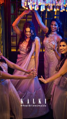 #Episode5 #RealBridesmaidsofKalki Are you not blessed with the best girlfriends in the world? Well, one of our #KALKIBrides has been fixed, and we planned on this one big 'Bride & Bestie' photoshoot for her and her #squad before she bids goodbye to singlehood.Also we got you a list of all sorts of 'must-have' picture ideas - from the cheesy ones to the most boujee ones. Indian Dresses, Indian Outfits, Party Wear Dresses, Wedding Dresses, Episode 5, Brides And Bridesmaids, Wedding Photoshoot, Picture Ideas