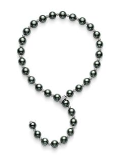 Mikimoto necklace: Noir Lariat Necklace, Black South Sea culture pearls and pavè diamond rondelles with pavè diamond clasp in 18k white gold.