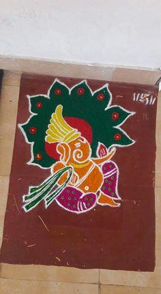Rangoli Ideas, Simple Rangoli, Diwali Painting, Ganesh Design, Free Hand Rangoli, Diwali Craft, Beautiful Rangoli Designs, Emoji Wallpaper, Diwali Decorations