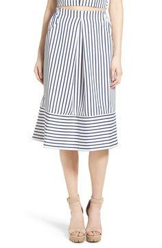 J.O.A. Cotton Poplin Stripe Midi Skirt available at #Nordstrom