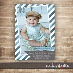 1st Birthday Photo Invitation / 1st, 2nd, 3rd Birthday Invitation / Boys Birthday Invitation / Blue & Gray Stripes - Printable or Printed by OandD on Etsy https://www.etsy.com/au/listing/216715820/1st-birthday-photo-invitation-1st-2nd