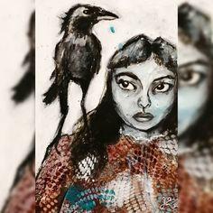 Beatnik, Canvas Artwork, Crow, Charcoal, Acrylics, Paper, Instagram, Link, Art On Canvas