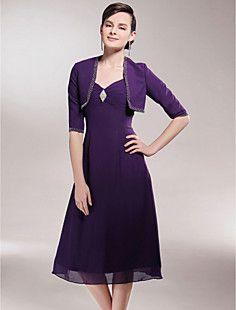 A-line V-neck Tea-length Chiffon Mother of the Bride Dress W... – USD $ 67.99