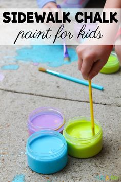 The kids will LOVE making their own sidewalk chalk paint. You just need a few kitchen ingredients to whip up the chalk paint, and it's so easy to clean up. Summer Preschool Activities, Outdoor Activities For Kids, Outdoor Games, Family Activities, Learning Activities, Kids Learning, Easy Arts And Crafts, Crafts For Kids, Neon Food Coloring