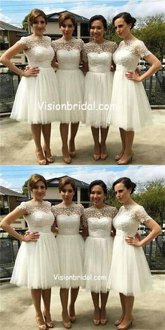 3551f2a19c0 Beautiful Cap Sleeve White Tulle Short Sleeve Knee-Length Wedding Party  Dresses