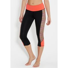 maurices Capri Legging With Patterned Sides ($27) ❤ liked on Polyvore featuring pants, leggings, patterned trousers, print leggings, patterned pants, capri leggings and maurices