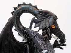 dragon art black dragon OOAK cloth soft by Tattermedallion on Etsy, £85.00