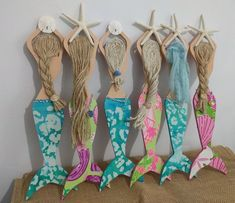 Custom Mermaid Decor-Beach Mermaid-Mermaids-Mermaid Decor-Starfish-Handcrafted Mermaid-Beach Decor-Girls Decor-Mermaid Wall Art-Girls Room These are my original handcrafted wooden mermaids. Customize your own…choose your tail, pick your [. Mermaid Crafts, Seashell Crafts, Beach Crafts, Beach Themed Crafts, Mermaid Wall Art, Mermaid Beach, Mermaid Mermaid, Mermaid Room Decor, Vintage Mermaid