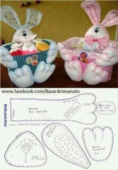 Bunny basket w/ free pattern Bunny Crafts, Felt Crafts, Easter Crafts, Felt Bunny, Easter Bunny, Felt Christmas, Christmas Crafts, Christmas Ornaments, Easter Projects