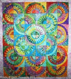 Beautiful colors in a New York Beauty quilt