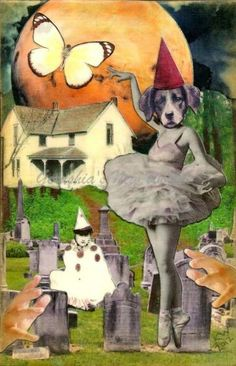 The Guardian of Cordelia's Swan Song (Tiny Tale Art) ~ Anthropomorphic Watercolor Collage Print