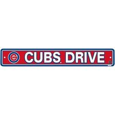 "Chicago Cubs Plastic Street Sign ""Cubs Drive"" by Fremont Die. $5.45. Sign measures approximately 4"" x 24"". Made of durable styrene plastic. Features vibrant team colors and logos. Officially licensed by Major League Baseball. Pre-drilled holes at sides for easy mounting. This plastic sign is a great decoration for the rec room or basement bar! Features vibrant team colors and helmet logo, on a sturdy, die-cut plastic sign that will stand up to all kinds of wear and tear. Pl..."