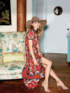 Dress, Valentino. Shoes, Gianvito Rossi. Hat, Albertus Swanepoel.