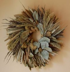 18 Inch Fall Wreath Wheat Grasses Lichens by MarieStephensDesign ...