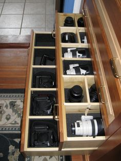 Camera storage - I definitely don't have that much equipment, but good idea.