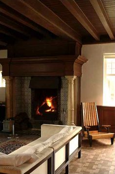 love the ceilings and fireplace.