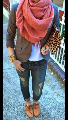Fall Fashion: brown blazer, salmon scarf. White top, jeans, tan Oxford shoes, and a leopard clutch...perfect