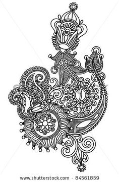 stock vector : Hand draw line art ornate flower design. Ukrainian traditional style.