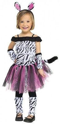 FUZZY ZEBRA Toddler Girls Zoo Animal Halloween Costume Fancy Dress
