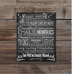 Retirement /Leaving chalkboard fully personalised by TheArtyApples