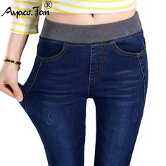 2017 Women's Jeans New Warm Female Casual Elastic Waist Stretch Jeans Plus Size 38 Slim Denim Long Pencil Pants Lady Trousers //Price: $28.00 & FREE Shipping //    #outfit #guy #polo