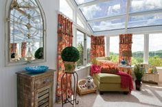 Brightly colored panels inspire and unite the varied tones in the decor. Outdoor Retreat, Indoor Outdoor Living, Traditional Porch, Cool Ties, St Louis, Interior Design, Tie Backs, Cottages, Inspire