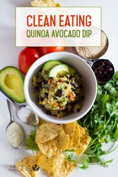 Food and Drink. Clean Eating Quinoa Avocado Dip. This recipe is easy, delicious, and healthy!