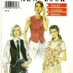 A Fitted Vest and Button Front Sleeveless Top Pattern with Neckline Variations