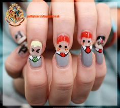 Harry Potter Character False Nail Set - Draco, Harry, Ron, Hermione, Fred, George Weasley. £6.00, via Etsy.