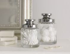 Keep cotton wool pads, buds & removers clean and tidy in glass jars Dressing Table Organisation, Tranquil Bathroom, Neutral Color Scheme, Cotton Pads, Closet Storage, Window Sill, White Shop, Kitchen Living, Luxury Interior